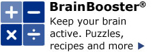 BrainBooster - Keep your brain active. Puzzles, recipes and more